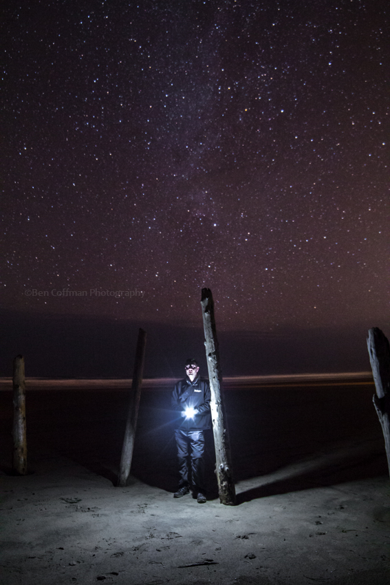 self portrait, stars, cannon beach, oregon, night photography, star photography