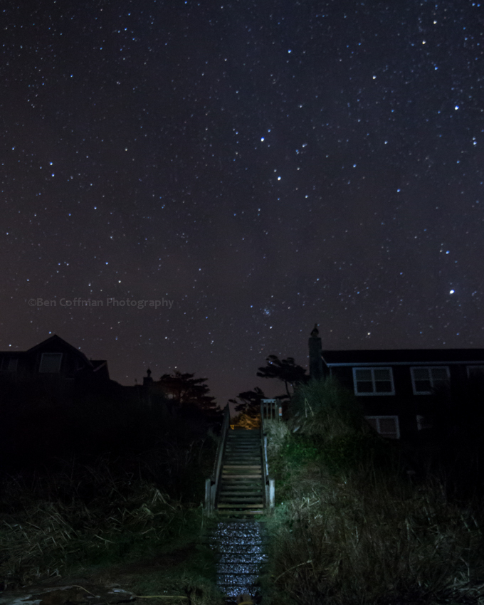 stairway, stars, oregon coast, cannon beach