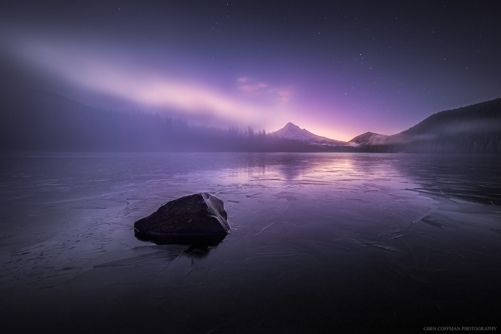 The glow of twilight collides with a thick fog bank over a frozen Lost Lake. Mt Hood can be seen in the background. Prints available. Click for full version.
