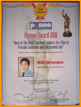 Piagam Penghargaan Guru Besar Daya Pramana Mbah Lan Dari Posmo