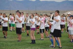 brass players rehearsing