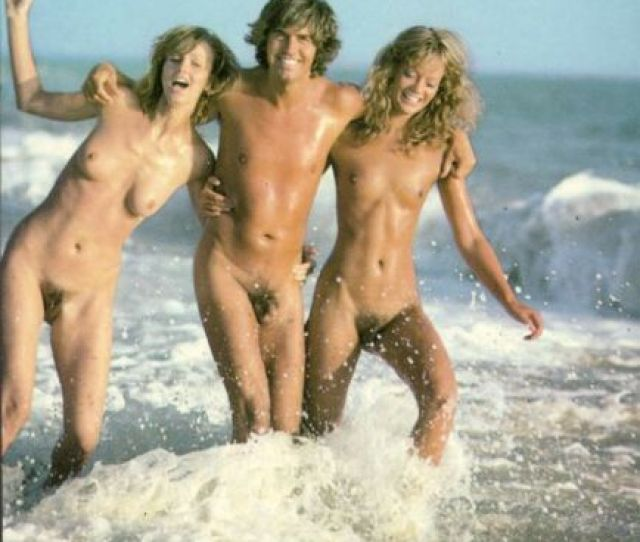 Nude Young Man With Two Nude Girls In The Sea 1960s