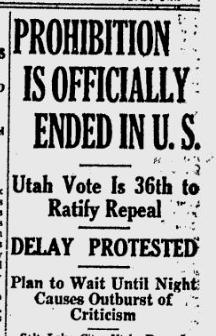 The Bulletin, December 5, 1933: Prohibition Ended