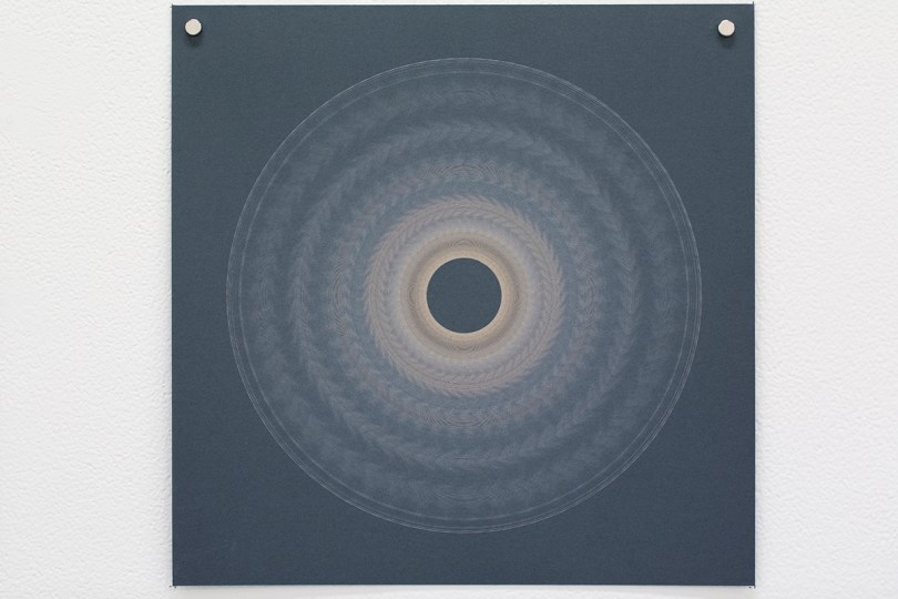 Variable speed spiral no. 5b (grey), 2016, 25x25cm, 445nm laser on paper.