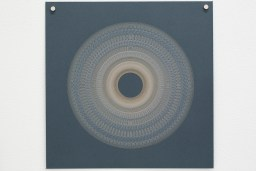 Variable speed spiral no. 13b (grey), 2016, 25x25cm, 445nm laser on paper.
