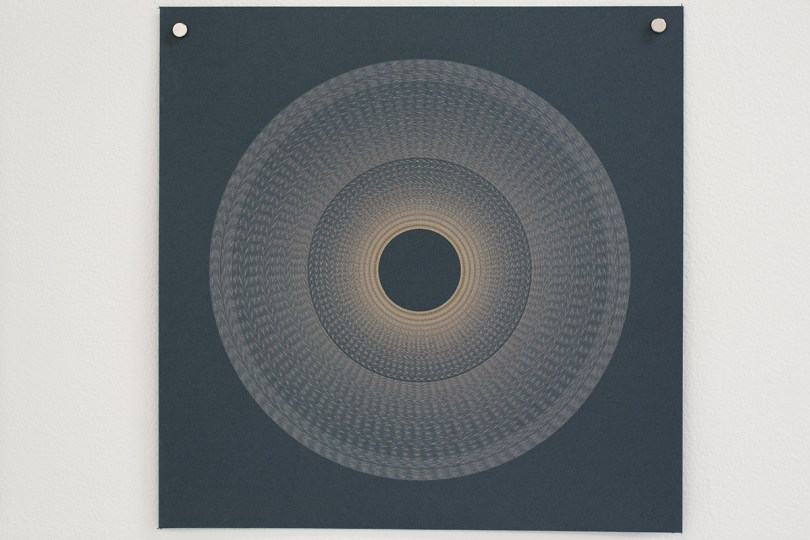 Variable speed spiral no. 6b (grey), 2016, 25x25cm, 445nm laser on paper.