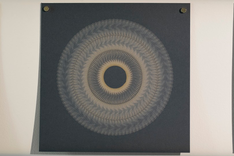 Variable speed spiral no. 12a (grey), 2016, 20x20cm, 445nm laser on paper.
