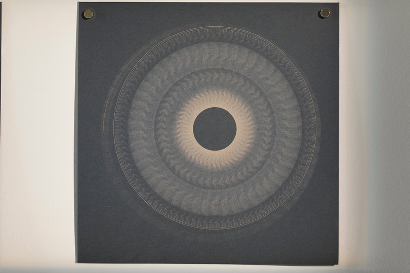 Variable speed spiral no. 7a (grey), 2016, 20x20cm, 445nm laser on paper.