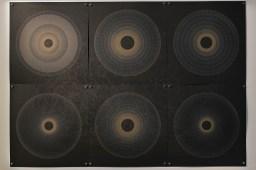 Evolution and ecology: spiral set no. 3, 2016, 70x100cm, 445nm laser on paper.