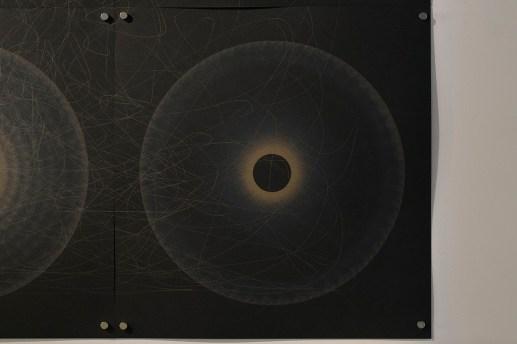 Evolution and ecology: spiral set no. 3, 2016, 70x100cm, 445nm laser on paper (detail).