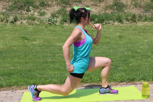 Lunge Jump: Start in a Lunging Position. Jump up into the air, while switching your feet to land in a lunge with the opposite leg in front.  Low Impact Variation: Lunge, stand up with both feet together and squeeze your glutes, step back into a lunge with the other leg.