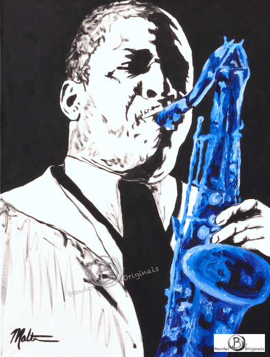 John Coltrane playing a blue saxophone Bender Originals