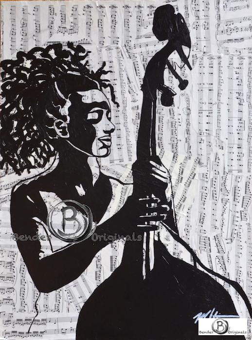 Esperanza Spalding holding double bass Bender Originals