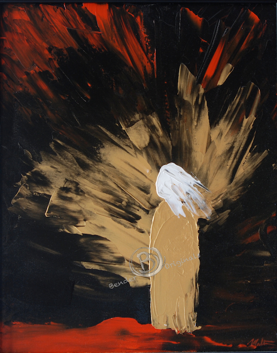 painting of a golden figure facing the light