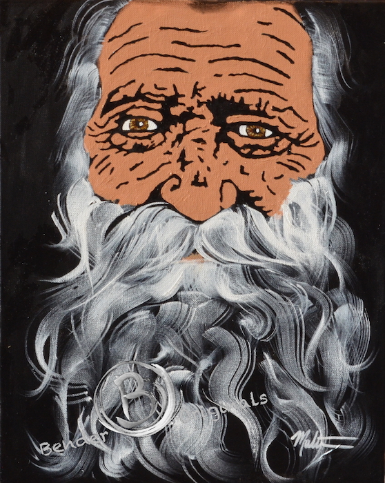 acrylic painting of an old man with white beard and brown eyes