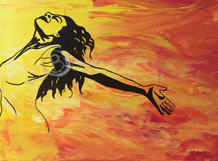 abstract painting of woman happy in the sun Bender Originals