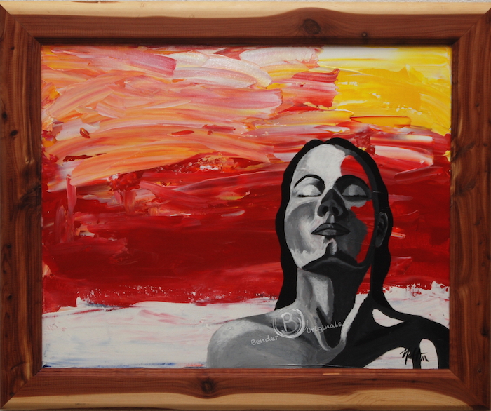 Abstract painting of woman with eyes closed in the sunset