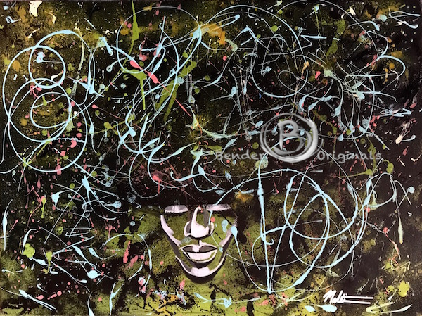 acrylic painting splatter woman green