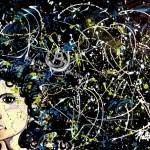 acrylic painting splatter woman