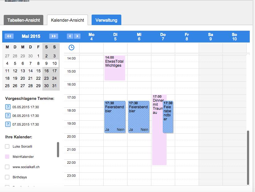 Kalenderansicht in Doodle. Alles im Blick!