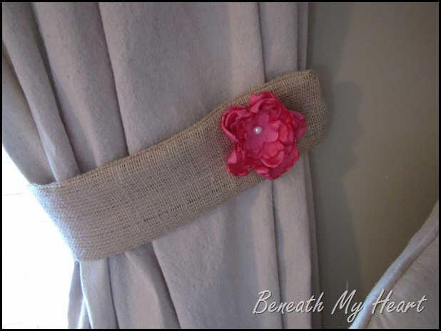 silk flower on burlap curtain tie backs