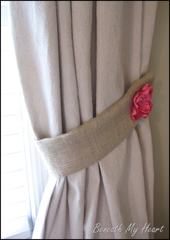 how to make burlap tie backs by beneath