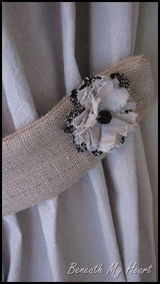 pretty fabric flowers on burlap tie backs