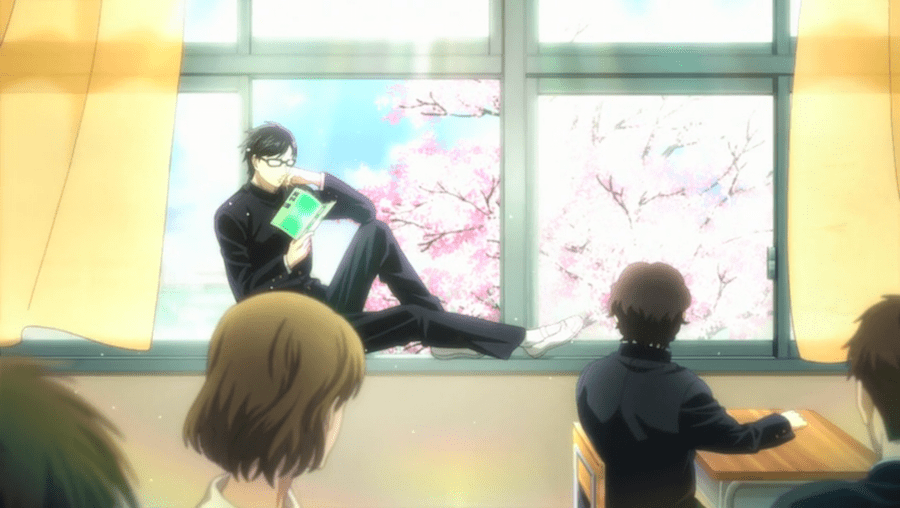 Jealous classmates stole Sakamoto's desk and chair, hoping to make him look silly without a place to sit. Instead, he sat in the window, looking cooler than ever.
