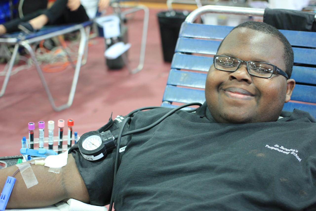 Joshua DeSousa, SY, during his blood donation on April 2, 2014