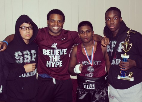Leahy House Director Mike Steadman started the first SBP boxing team last summer. From left to right: UDII Israel Lema, Mike Steadman, UDII Brian Benedict and Moise Cineus.