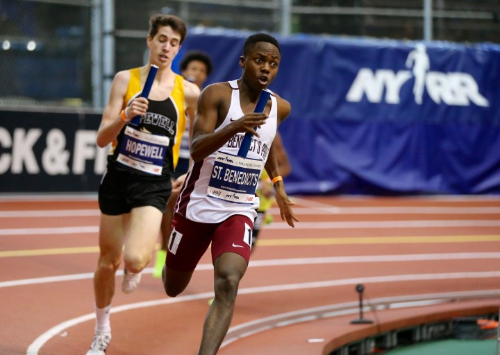 UDI+Alfred+Chawonza+out+kicking+the+runner+from+Hopewell+Valley+to+secure+the+4x800-meter+relay%27s+victory+at+Millrose+Games.