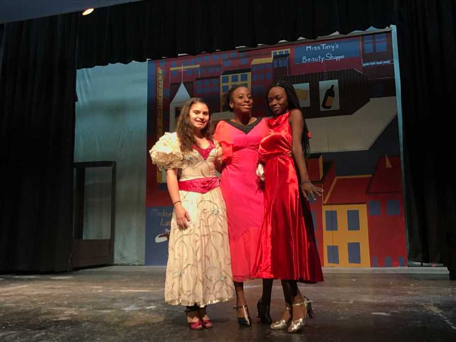 Eliana Merced (Left), Shanel Ferron (Center), and Camille Hatcher (Right) from Benedictine Academy and Arts High School in costume.