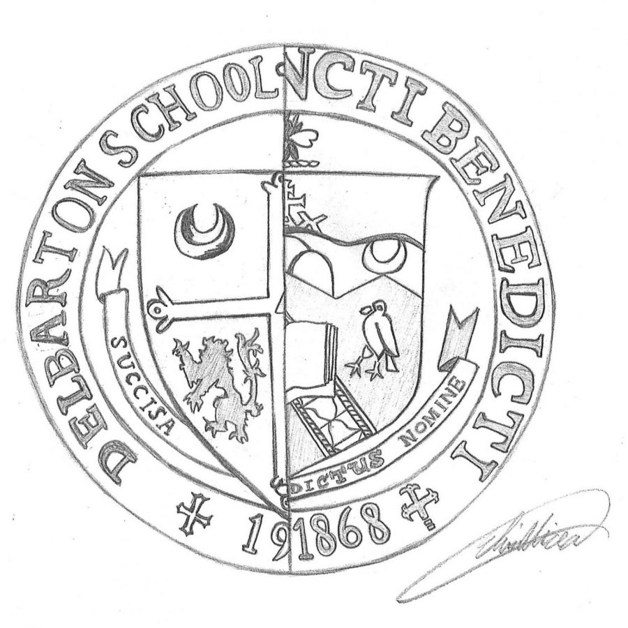 An artist's rendition displaying the Benedictine traditions: what a seal of both St. Benedict's Prep and Delbarton School might look like together.