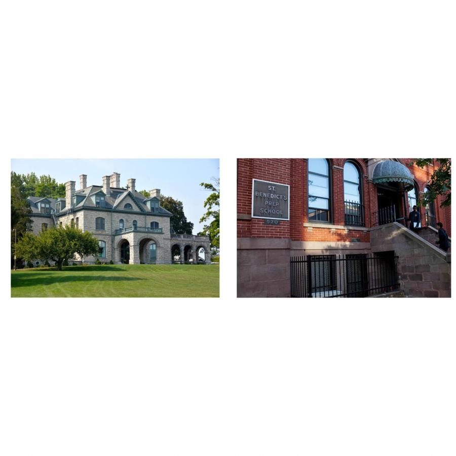 School officials from Delbarton and St. Benedict's are contemplating ways to renew their relationship. On the right is the iconic 520 entrance of St. Benedict's. On the left is the beautiful Old Main of Delbarton.