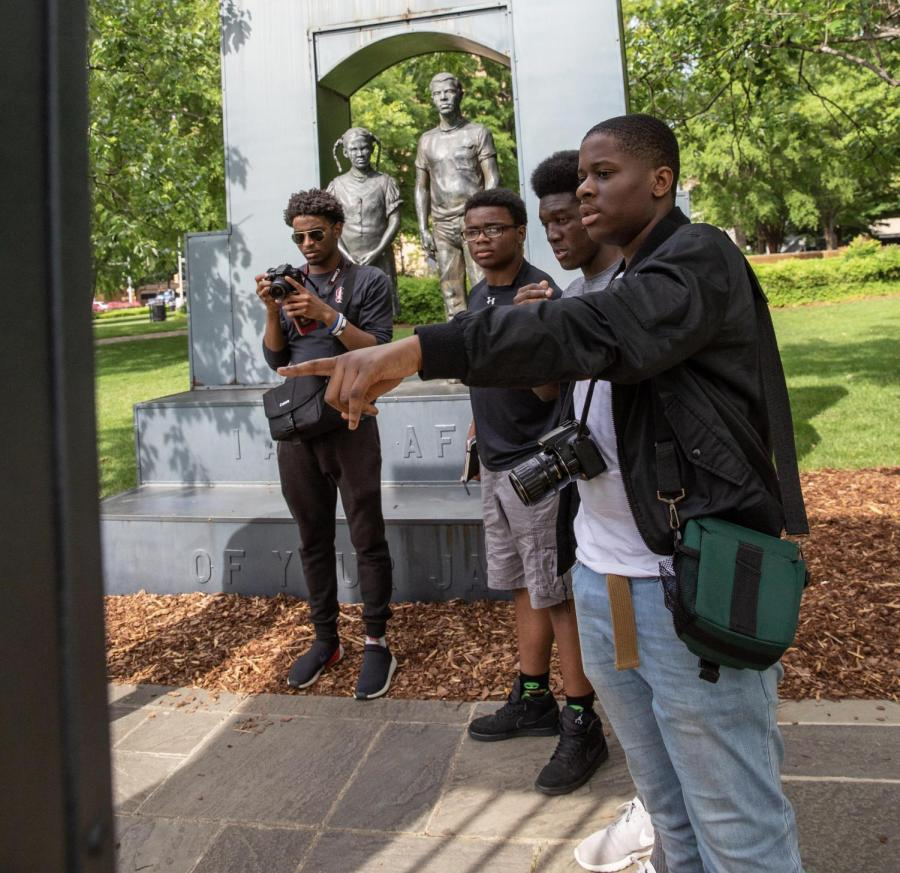 During+a+visit+to+the+South%2C+SBP+students+toured+iconic+sites+in+the+Civil+Rights+movement%2C+including+statues+in+Kelly+Ingram+Park.