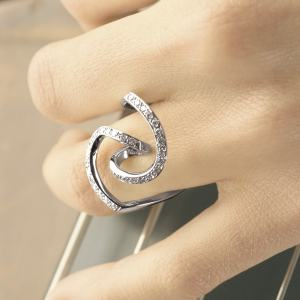 Bague Valse Or Gris et Diamants