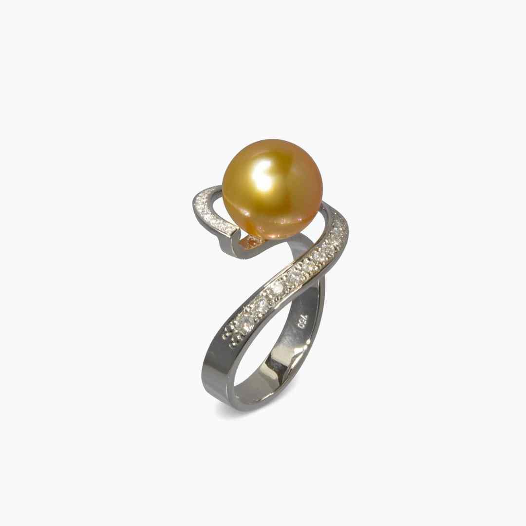 Bague Surya Perle Gold Diamants et Or Gris