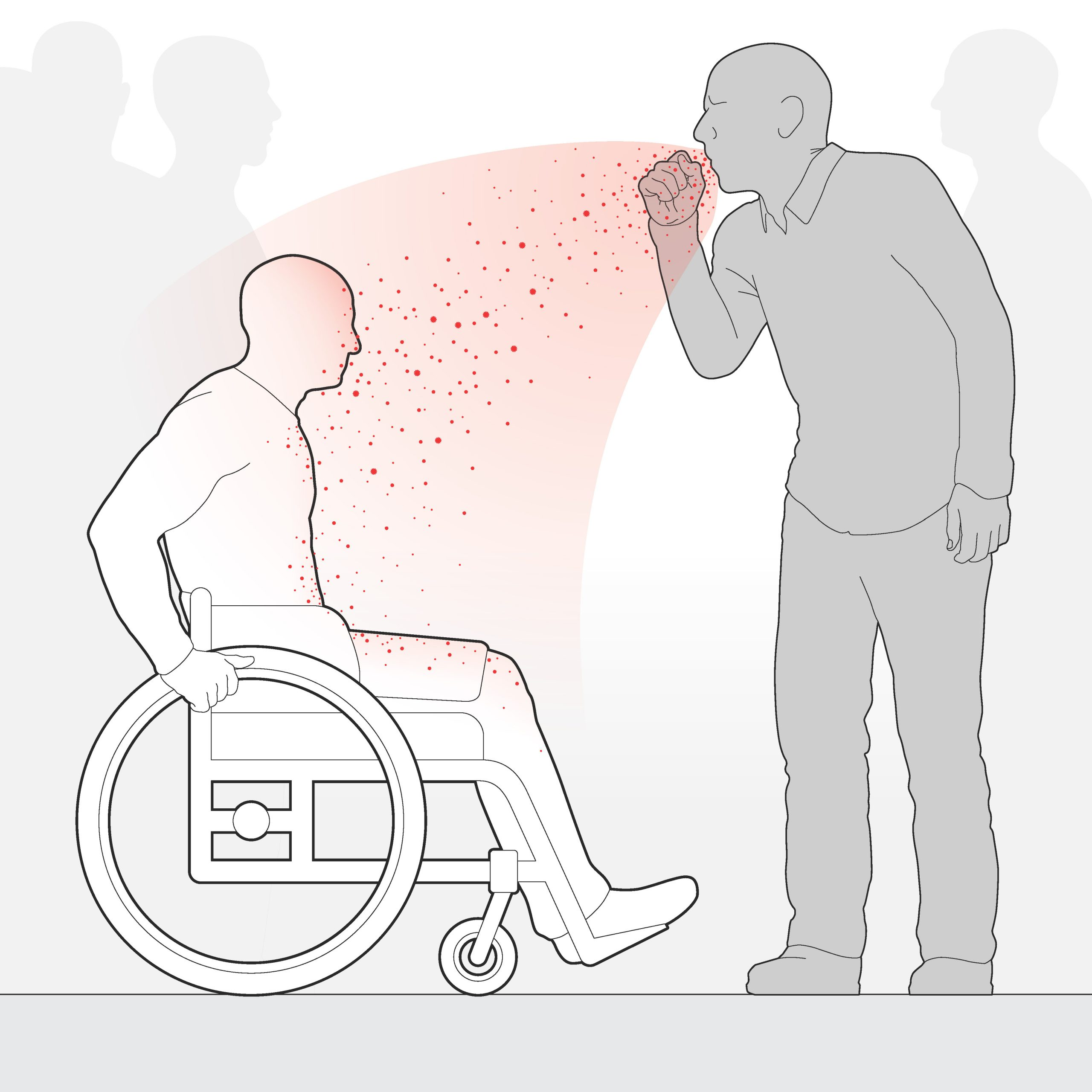 Wheelchair user in direct line of another person's cough