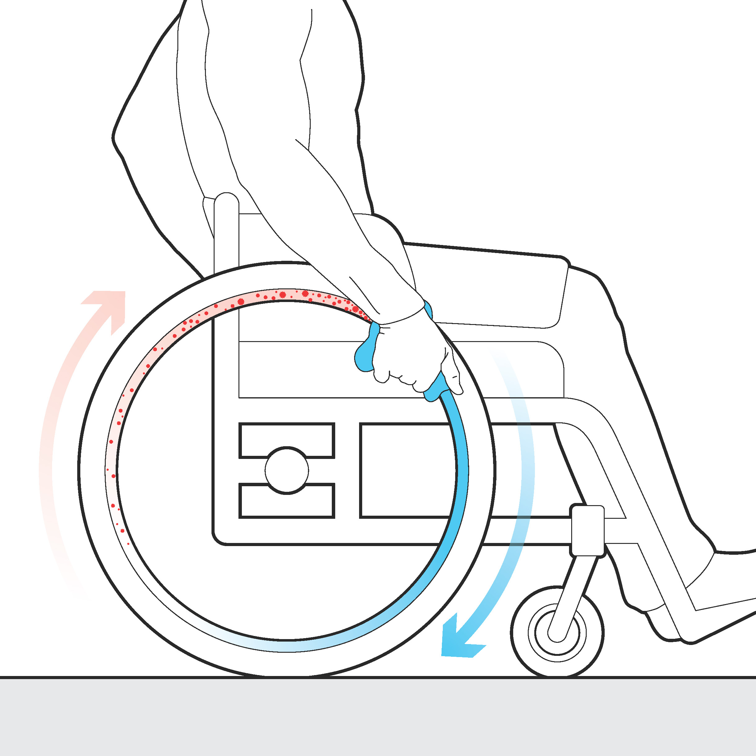 Wet cloth applied to handrims while pushing wheelchair