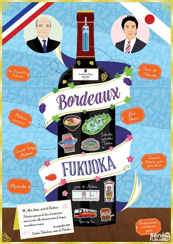 Poster jumelage Fukuoka Bordeaux