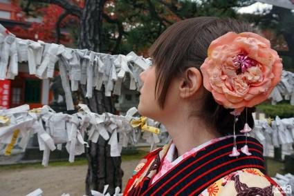 Coiffure et ornement de kimono d'automne