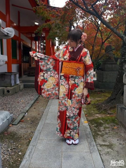Kimono d'automne au sanctuaire Momiji Hachimangû, Fukuoka