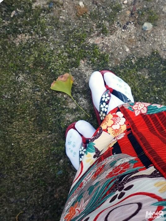 Zori d'automne avec feuille de ginkgo