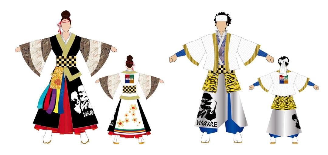 Ébauche et patron de costume de yosakoi (team Nagare)