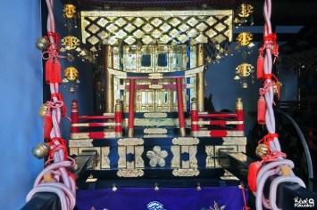 Chars du festival Hakata Okunchi exposés au sanctuaire Kushida, Fukuoka
