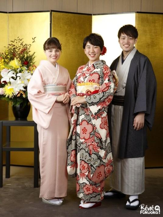 En kimono pour le journal de la ville de Fukuoka