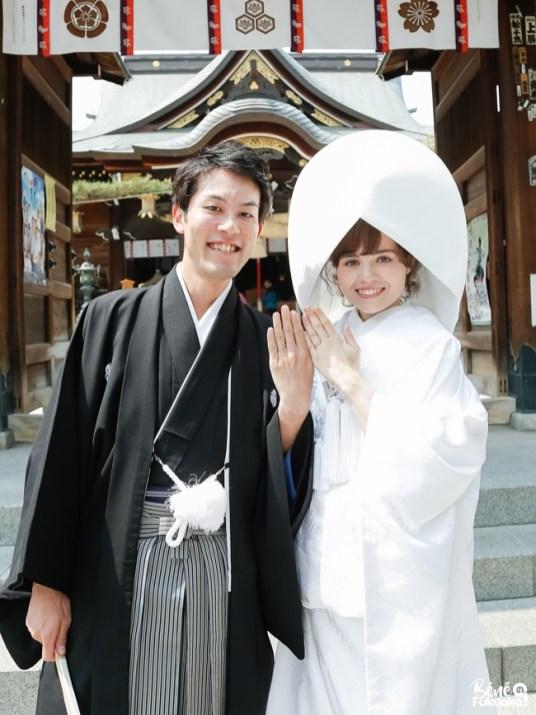 Couple franco-japonais au sanctuaire Kushida de Fukuoka