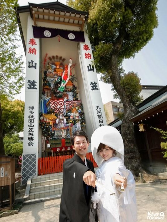 Mariage franco-japonais au sanctuaire Kushida de Fukuoka