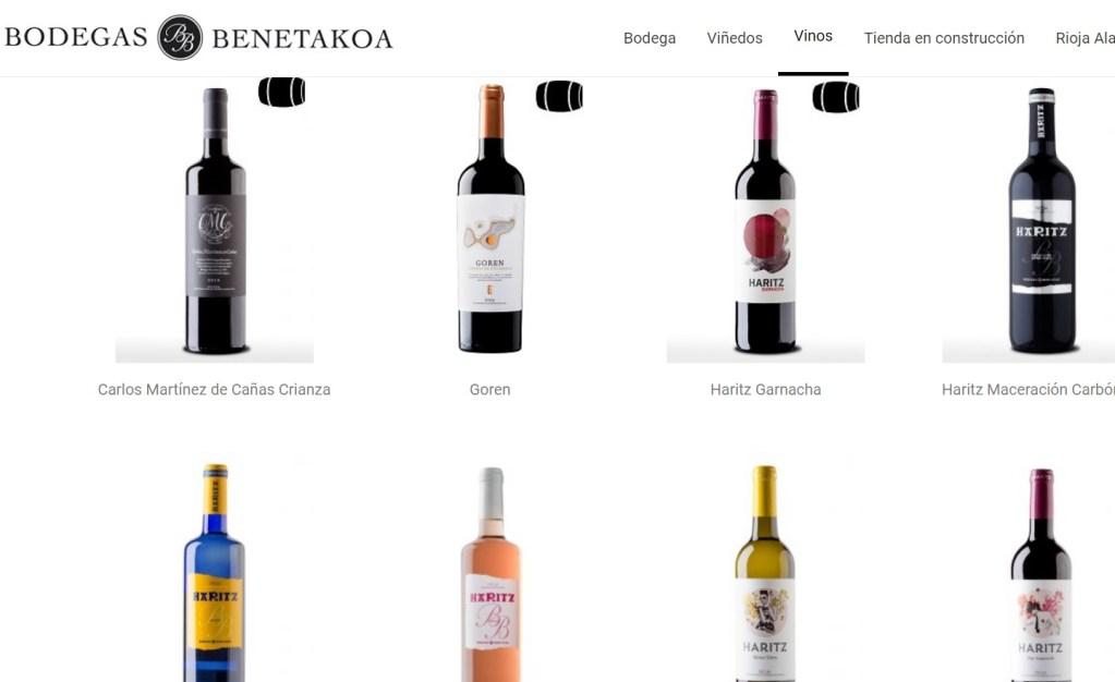 Foto de la web apartado vinos