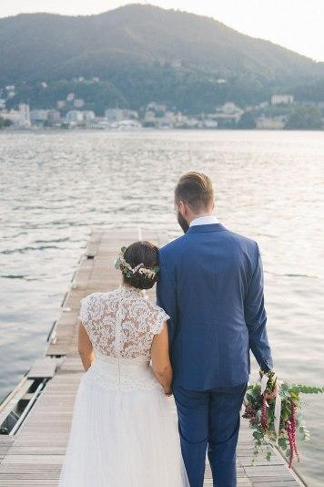 wedding boho a Villa Geno como lake